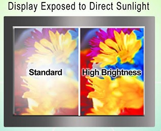Display exposed to direct sunlight